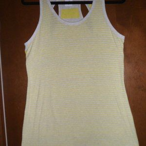 Cabi Sideline Tank, Gray and Yellow Stripe, Size S